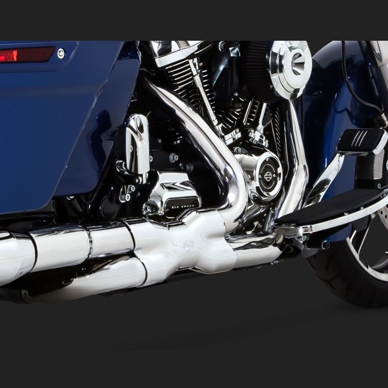 VANCE HINES POWER DUAL CHROMED HEADPIPE HARLEY TOURING 17-18 - DETAIL