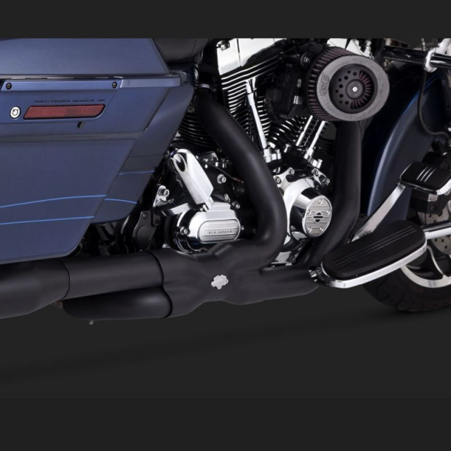 VANCE HINES POWER DUAL BLACK HEADPIPE HARLEY TOURING 09-16 - DETAIL