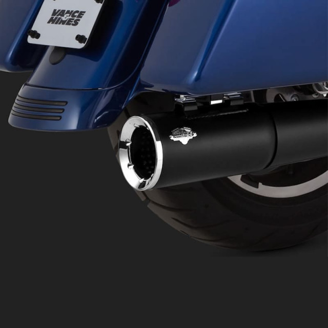 VANCE HINES PRO PIPE BLACK HARLEY TOURING EXHAUST 17-21- DETAIL 2