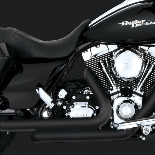 VANCE HINES DRESSER DUAL BLACK HARLEY TOURING HEADPIPES 09-16 - DETAIL 2