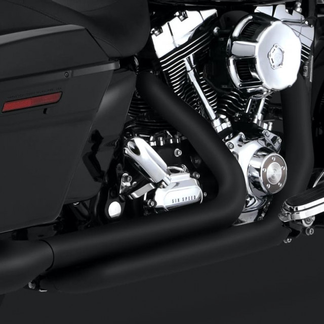 VANCE HINES DRESSER DUAL BLACK HARLEY TOURING HEADPIPES 09-16 - DETAIL