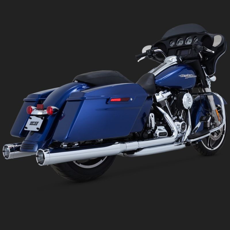 VANCE HINES MONSTER ROUND CHROME SLIP-ONS HARLEY TOURING