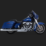 VANCE HINES MONSTER ROUND CHROME SLIP-ONS HARLEY TOURING - SIDE