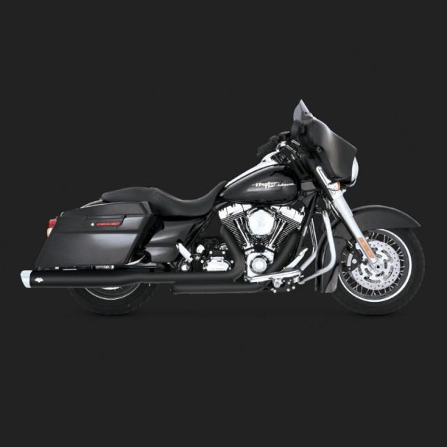 VANCE HINES MONSTER OVALS BLACK SLIP-ONS HARLEY TOURING 99-16 - SIDE