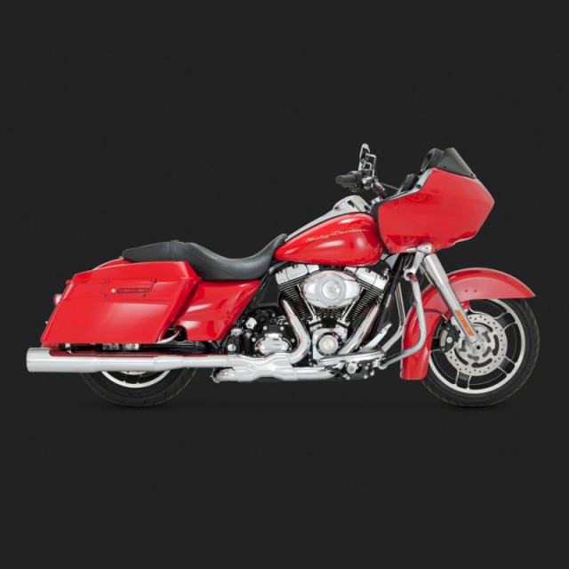 VANCE HINES HI-OUTPUT CHROME SLIP-ON MUFFLERS FOR HARLEY TOURING 95-16 - SIDE
