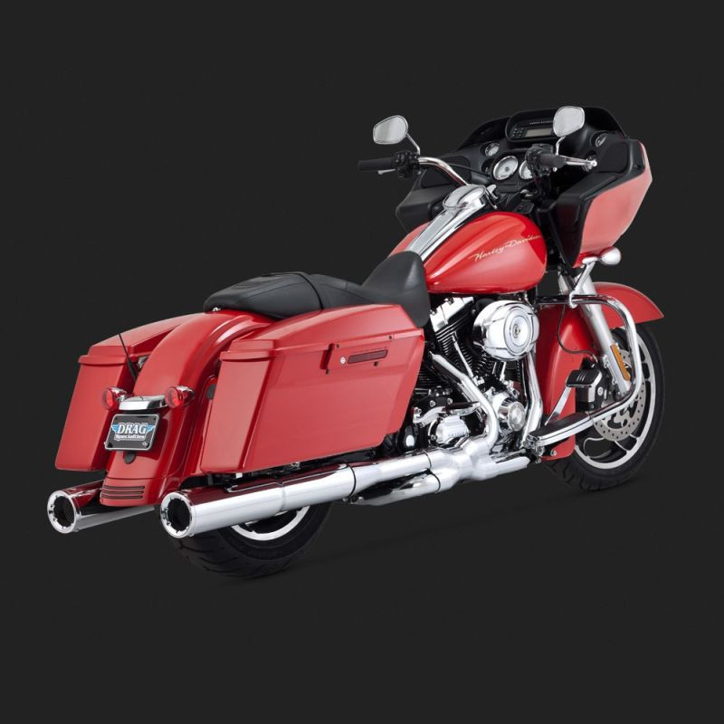 VANCE HINES HI-OUTPUT CHROME SLIP-ON MUFFLERS FOR HARLEY TOURING 95-16