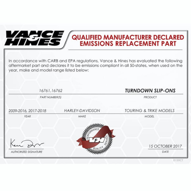 VANCE HINES TURNDOWN CHROME SLIP-ON MUFFLER HARLEY TOURING 95-16 - QUALIFIED MANUFACTURER DECLARED EMISSIONS REPLACEMENT PART