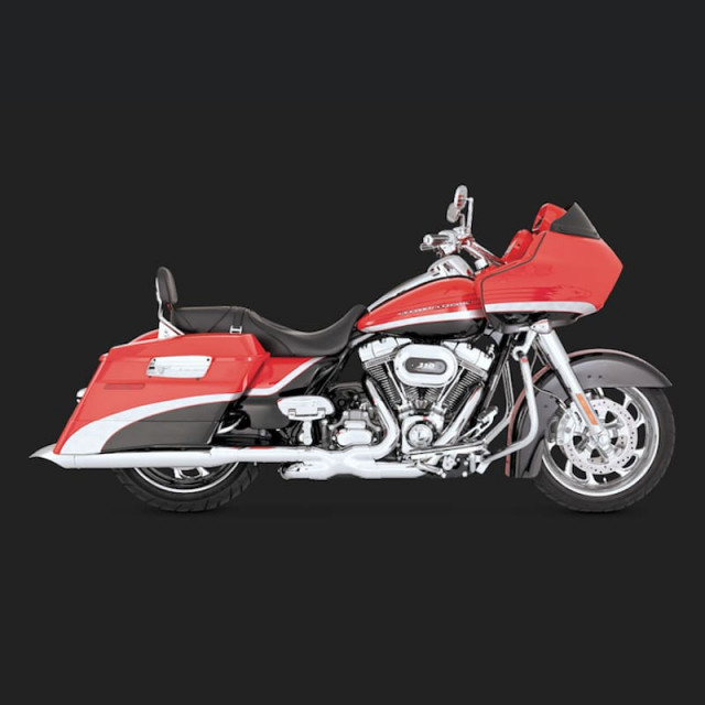 VANCE HINES TURNDOWN CHROME SLIP-ON MUFFLER HARLEY TOURING 95-16 - SIDE