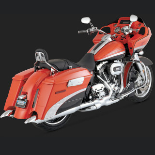 TERMINALI VANCE HINES TURNDOWN CHROME SLIP-ON HARLEY TOURING 95-16
