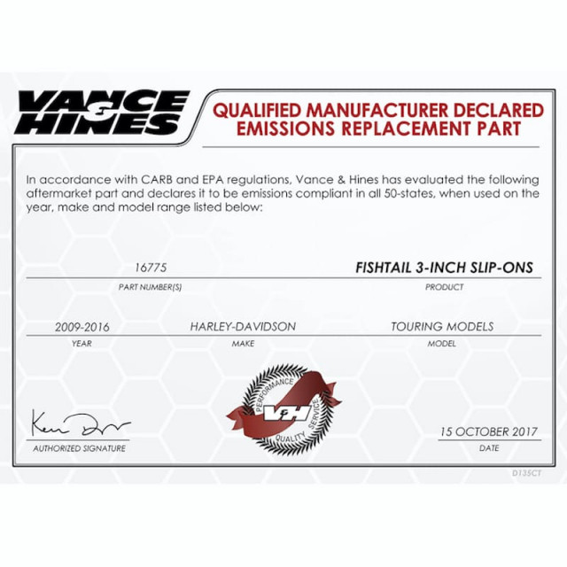 VANCE HINES FISHTAIL CHROME SLIP-ON MUFFLER HARLEY TOURING 95-16 - QUALIFIED MANUFACTURER DECLARED EMISSIONS REPLACEMENT PART