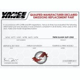 VANCE HINES SLIP-ON TWIN SLASH ROUND CHROME MUFFLER HARLEY TOURING 17-18 - DECLARED EMISSIONS REPLACEMENT PART