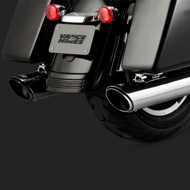VANCE HINES SLIP-ON TWIN SLASH ROUND CHROME MUFFLER HARLEY TOURING 17-18