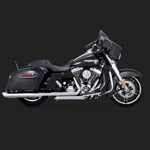 VANCE HINES TWIN SLASH ROUND CHROME SLIP-ON MUFFLER HARLEY TOURING 95-16 - SIDE