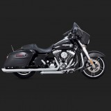 TERMINALI VANCE HINES TWIN SLASH ROUND CHROME SLIP-ON PER HARLEY TOURING 95-16 - LATO