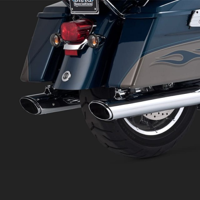 TERMINALI VANCE HINES TWIN SLASH OVALS CHROME SLIP-ON PER HARLEY TOURING 95-16 - DETTAGLIO