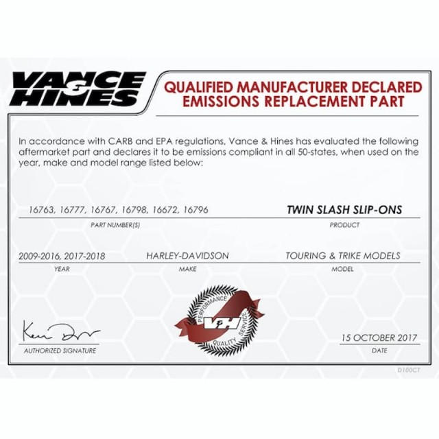 VANCE HINES TWIN SLASH OVALS CHROME SLIP-ON MUFFLER HARLEY TOURING 95-16 - DECLARED EMISSIONS REPLACEMENT PART