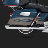 TERMINALI VANCE HINES TWIN SLASH OVALS CHROME SLIP-ON PER HARLEY TOURING 95-16 - DETTAGLIO LATO