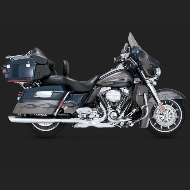 VANCE HINES TWIN SLASH OVALS CHROME SLIP-ON MUFFLER HARLEY TOURING 95-16 - SIDE DETAIL
