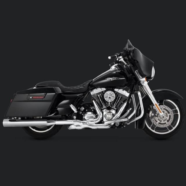 VANCE HINES ELIMINATOR 400 CHROME-BLACK SLIP-ON MUFFLER HARLEY TOURING 95-16 - SIDE