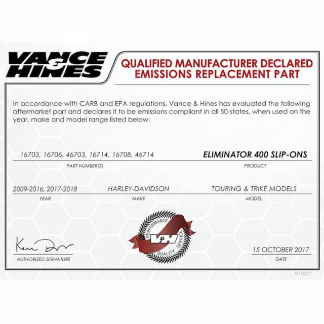 VANCE HINES ELIMINATOR 400 CHROME-BLACK SLIP-ON MUFFLER HARLEY TOURING 95-16 - DECLARED EMISSIONS REPLACEMENT PART