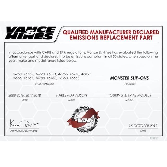 Manufacturer Declared Emission V&H Monster Slip-Ons