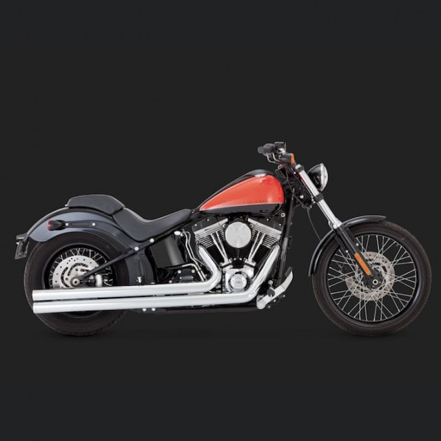 VANCE HINES BIG SHOTS LONG CHROME EXHAUST HARLEY SOFTAIL 12-17 - SIDE