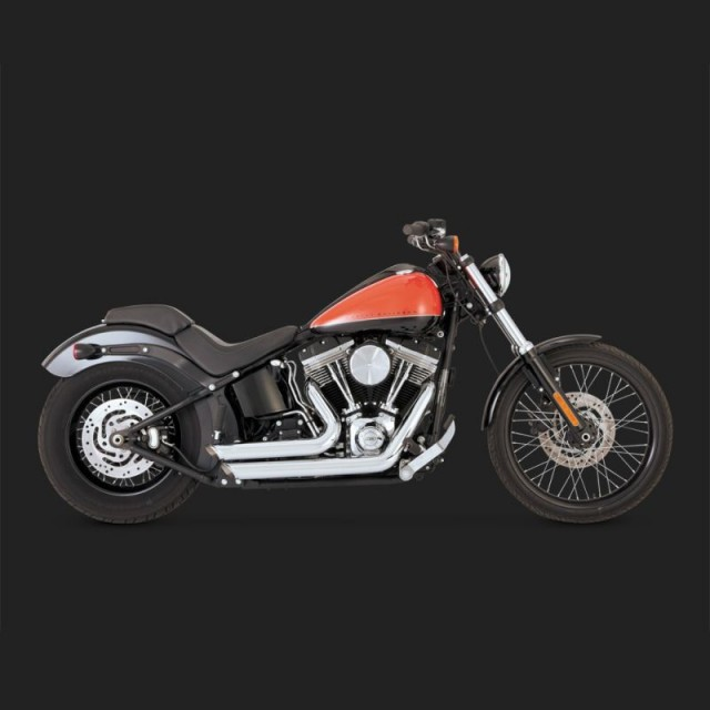 VANCE HINES SHORTSHOTS STAGGERED CHROME EXHAUST FOR HARLEY SOFTAIL 12-17 - SIDE