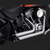 VANCE HINES SHORTSHOTS STAGGERED CHROME EXHAUST FOR HARLEY SOFTAIL 12-17 - DETAIL