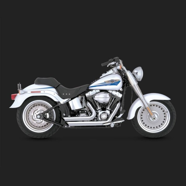 VANCE HINES SHORTSHOTS STAGGERED CHROME EXHAUST FOR HARLEY SOFTAIL 86-11