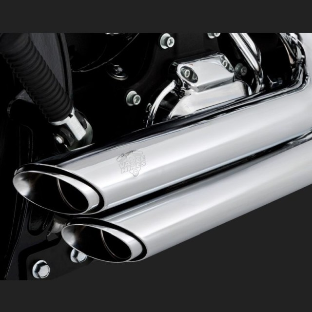 VANCE HINES SHORTSHOTS STAGGERED CHROME EXHAUST FOR HARLEY SOFTAIL 86-11- DETAIL 2
