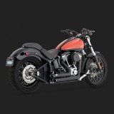 VANCE HINES SHORTSHOTS STAGGERED BLACK EXHAUST FOR HARLEY SOFTAIL 12-17