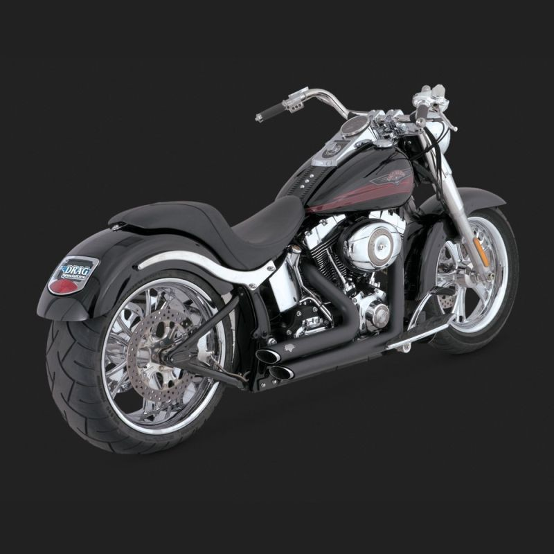 VANCE HINES SHORTSHOTS STAGGERED BLACK EXHAUST FOR HARLEY SOFTAIL 86-11