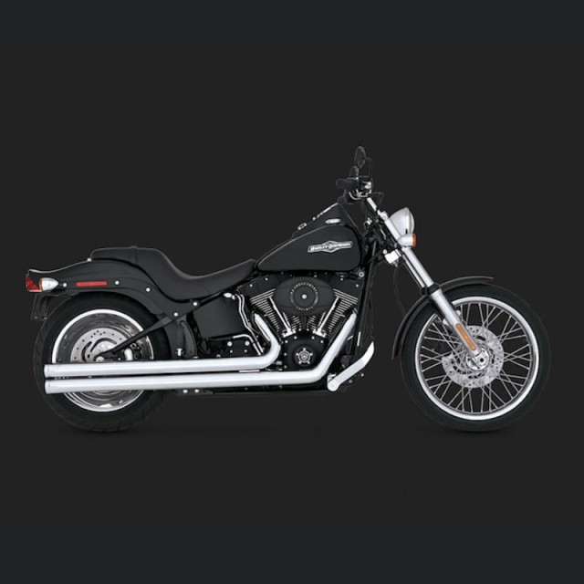 VANCE HINES BIG SHOTS LONG CHROME EXHAUST HARLEY SOFTAIL 86-11 - SIDE