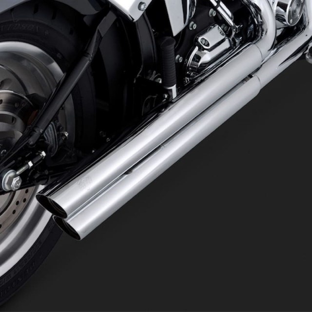 VANCE HINES Q-SERIES DOUBLE BARREL CHROME EXHAUST FOR HARLEY SOFTAIL 00-13 - DETAIL