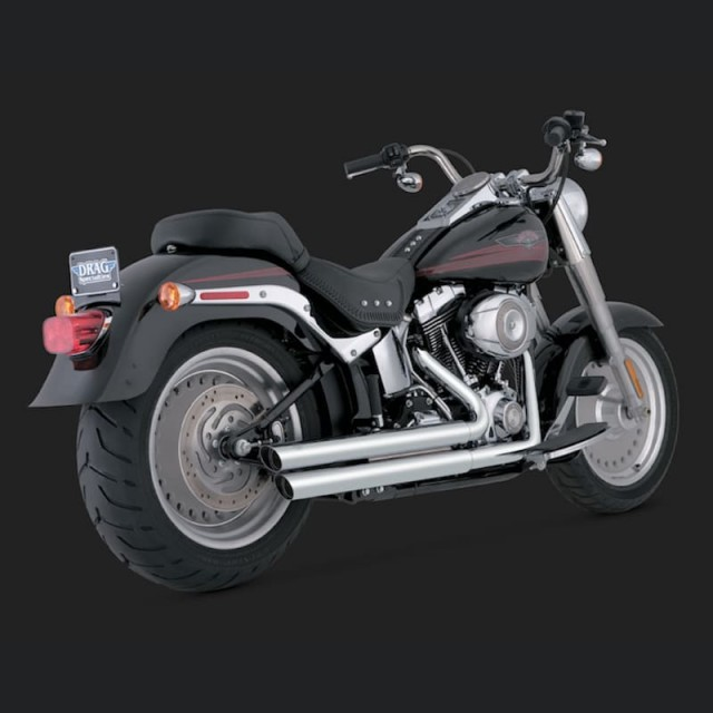VANCE HINES Q-SERIES DOUBLE BARREL CHROME EXHAUST FOR HARLEY SOFTAIL 00-13