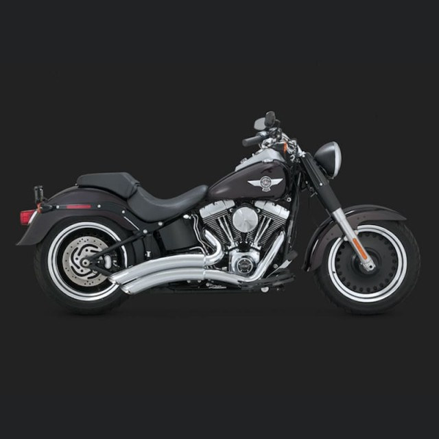 VANCE HINES SUPER RADIUS CHROME EXHAUST FOR HARLEY SOFTAIL 86-17 - SIDE