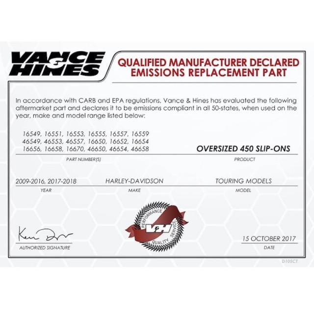 Manufacturer Declared Emission V&H Oversized 450 Slip-Ons