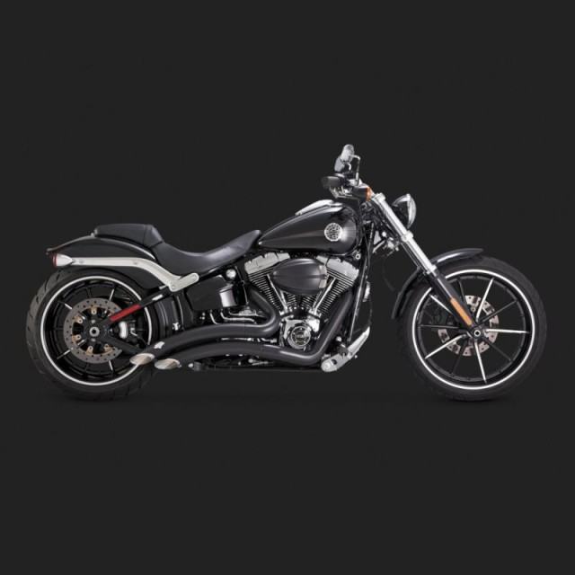 VANCE HINES BIG RADIUS BLACK EXHAUST FOR HARLEY SOFTAIL 13-17 - SIDE