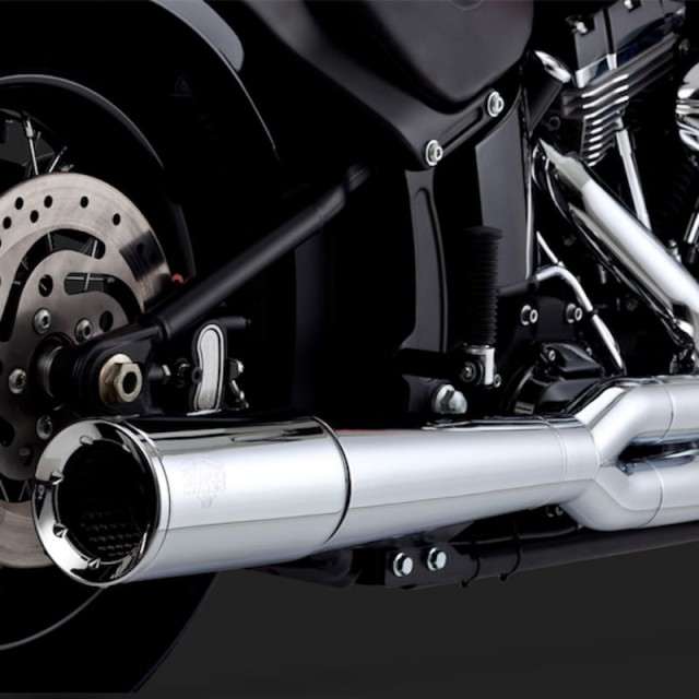 SCARICHI VANCE HINES PRO PIPE CHROME 2-INTO-1 PER HARLEY SOFTAIL 12-17 - DETAIL