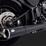 VANCE HINES PRO PIPE BLACK 2-INTO-1 EXHAUST HARLEY SOFTAIL 12-17 - DETAIL