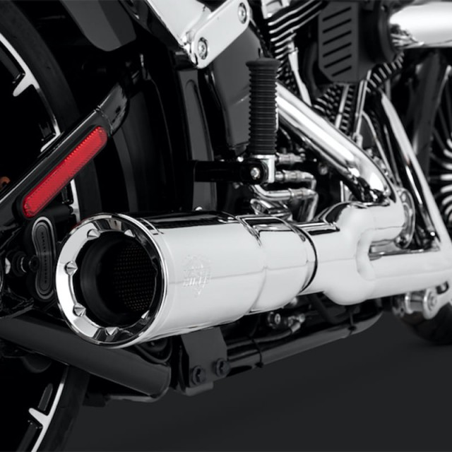 VANCE HINES HI-OUTPUT SHORT CHROME 2-INTO-1 EXHAUST FOR ROCKER/BREAKOUT - DETAIL