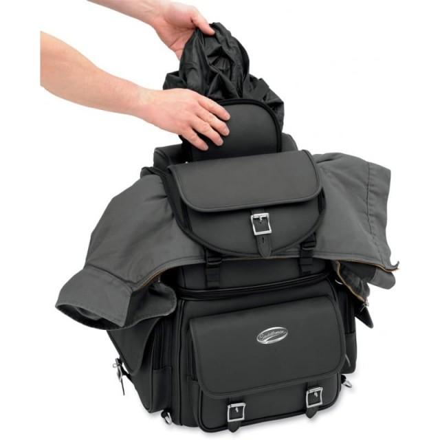 BORSA SADDLEMEN BR340EX BACK SEAT SISSY BAR BAG - COPERTURA ANTIPIOGGIA