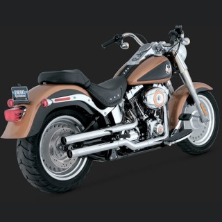 VANCE HINES STRAIGHTSHOTS SLIP-ON MUFFLERS CHROME FOR SOFTAIL 07-17 - SIDE