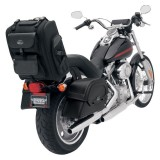 BORSA SADDLEMEN S2200E EXPANDABLE SISSY BAR BAG - FISSAGGIO SISSY BAR ESEMPIO