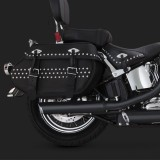 VANCE HINES EC TWIN SLASH SLIP-ONS MUFFLERS BLACK FOR SOFTAIL 07-16 - DETAIL