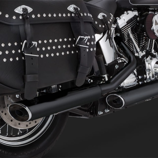 VANCE HINES EC TWIN SLASH SLIP-ONS MUFFLERS BLACK FOR SOFTAIL 07-16 - DETAIL 2