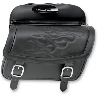 SADDLEMEN HIGHWAYMAN TATTOO SLANT MEDIUM SADDLEBAGS - BLACK