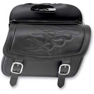 SADDLEMEN HIGHWAYMAN TATTOO SLANT LARGE SADDLEBAGS - BLACK