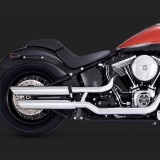 VANCE HINES 3'' ROUND TWIN SLASH SLIP-ON MUFFLERS CHROME FOR SOFTAIL 07-17 - SIDE
