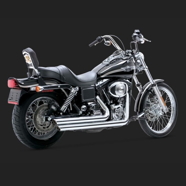 VANCE HINES BIG SHOT STAGGERED CHROME EXHAUST FOR DYNA 91-05 - SIDE